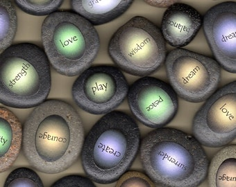 boda stones with words; love, joy, peace, courage, trust, balance, clarity, strength, gratitude, dream, create, healing, surrender, and more