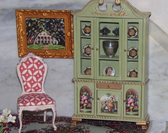 China Cabinet for 1:12th Dollhouse.  Painted Vintage Bespaq.