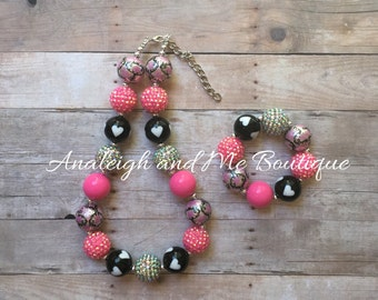 Pink and Black Chunky Necklace, Pink and Black Toddler Necklace,  Pink and Black Girls Necklace, Pink and Black Baby Necklace,