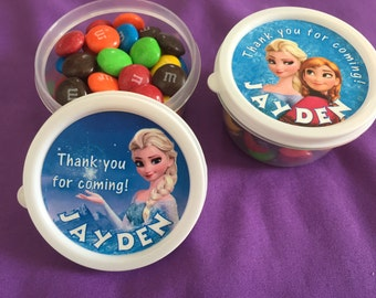 12 Personalized Disney's Frozen Candy containers / candy cups with lids / party favors