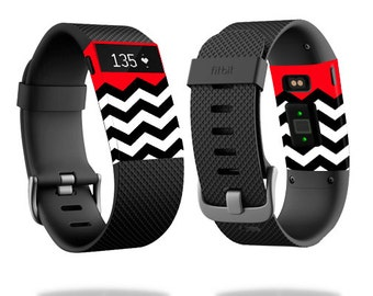 Skin Decal Wrap for Fitbit Blaze, Charge, Charge HR, Surge Watch cover sticker Red Chevron