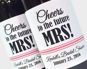 Bridal Shower Favor or Bachelorette Favor, Mini Wine Labels, Cheers to the Future MRS! Custom mini wine bottle labels