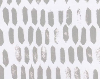 Fabric by the yard - Modern cotton - Quilt fabric in Gray and White - Sale Fabric - Dear Stella - White Teeth Geo