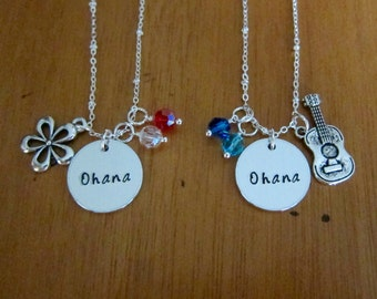 Ohana friendship necklaces. Set of 2. Hand stamped. Ukulele charm. Hawaiian Flower. Best friend necklace. Sister necklace. Family necklace.