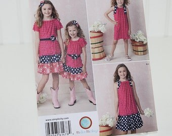 Girls Skirt and Knit Dress and Top, UNCUT Sewing Pattern, Simplicity 1478 - K5 - Size 7-14