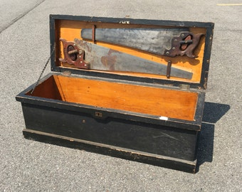 Antique pine carpenters tool box - early 1900's