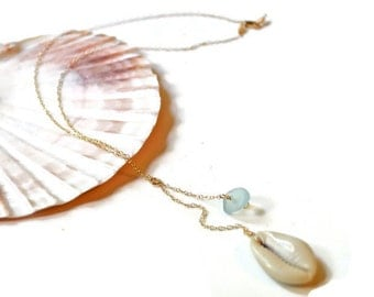 Cowrie Shell Necklace,Sea Glass Necklace Gold, Sea Glass Drop Necklace, Shell Necklace