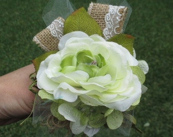 Shabby Chic Corsage in Ivory and Light Green Ranunculus with Burlap Lace and Tulle