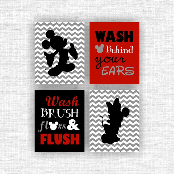 Mickey mouse and minnie mouse bathroom wall art printable wash brush