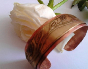 Etched Mixed Metal Cuff Bracelet