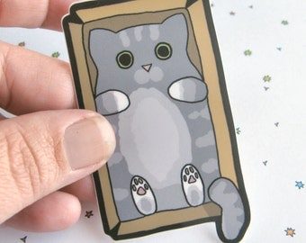 Cute Cat Sticker, Laptop Sticker, Car Sticker, Bumper Sticker, Vinyl Sticker, Funny Cat, Silly Cat, Cats and Boxes, Cute Cat