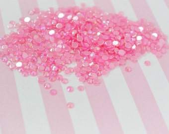 3mm Kawaii Hot Pink Iridescent Ab Jelly Rhinestone Flatback - 200 piece set