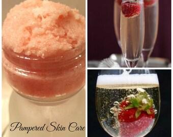BOGO Sale - Buy 1/Get 1 Free Strawberries & Champagne Sugar Scrub- 2 oz Jar, Revitalizing, Exfoliation