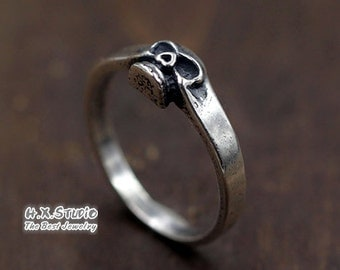 Silver Skull Ring, Rustic Sterling Silver Biker Band, Human Skull Ring, Mens Skull Ring, Halloween, Wholesale Available