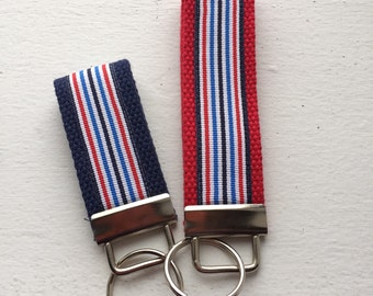 Nautical Stripe Key Fob- 2 Sizes- You Choose Color