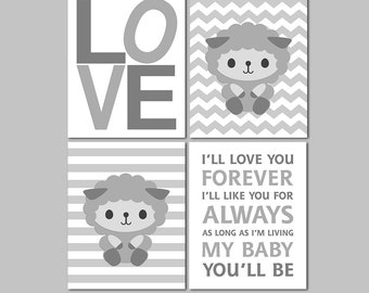 Grey and white neutral gender nursery art print -UNFRAMED- sheep wall art, chevron, Love, I'll love you forever, lamb, Robert Munsch, quote