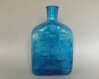 """Italian ,,Empoli"""" brutalist bottle glass vase , bark / crinkled Glass 1960s / 1970s Italy."""