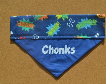 Super Paws ~ Personalized / Reversible ~ Over The Collar Dog Bandana