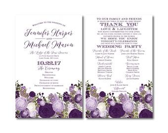 Vintage Wedding Programs, Fall Wedding, Vintage Floral, Floral Wedding, Vintage Wedding, Wedding Programs, Ceremony Order of Service #CL147