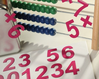 """2"""" Magnetic DIGITS on the Fridge, Magnets, 5 cm Fuchsia Magnetic Numbers, MagWords"""