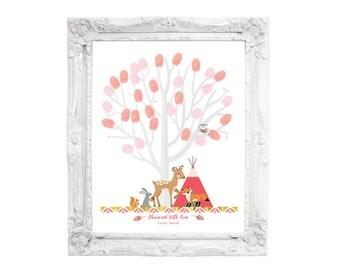 Thumbprint Tree Guestbook - Woodland Baby Shower, Pink, Gold Baby Shower Decor, Baby Girl, Guestbook Wall Art, Fingerprint Tree