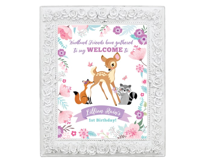 Baby Deer First Birthday Welcome Sign, Printable, Customized, DIY invitation, Girl's First Party, Woodland One-derland party