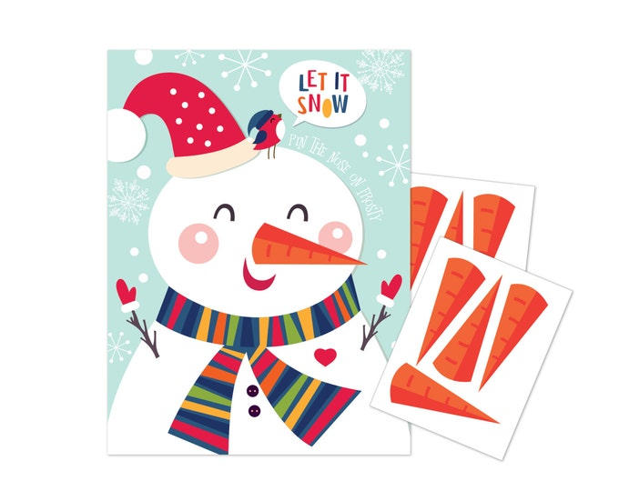 Pin the Nose (Carrot) on the Snowman - holiday party game - DIY party game for school parties - Let it snow party game