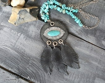 Tribal necklace. Gemstone necklace. Boho necklace. Turquoise necklace. Leather necklace. Feather necklace. Turquoise and silver jewelry.