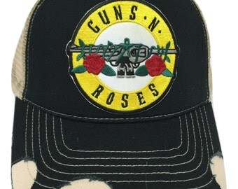 Guns N' Roses Distressed Trucker Hat in Black and Tan with Snapback