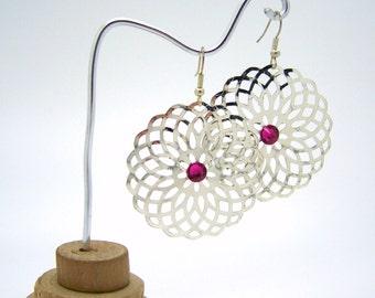 Silver earrings, Swarovski Crystal pink fuchsia, round earrings, rose