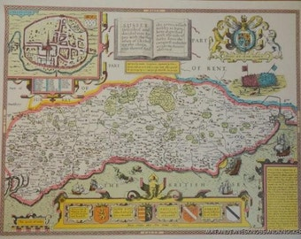 Old copy of John Speed map of Sussex, Chichester, town plan