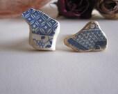 Blue China- Unique Mens Cufflinks- Vintage China Cufflinks- Ceramic Cufflinks- Sea Pottery- River Thames Pottery