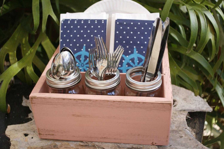 silverware napkin paper plate holder caddy utensil box coral. Black Bedroom Furniture Sets. Home Design Ideas
