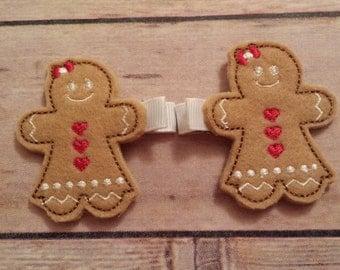 Gingerbread girl hair clips