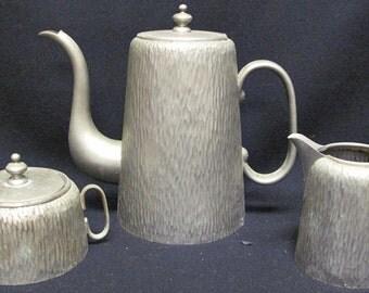 Antique Textured Pewter Tea Set 1L Teapot Sugar Bowl Creamer