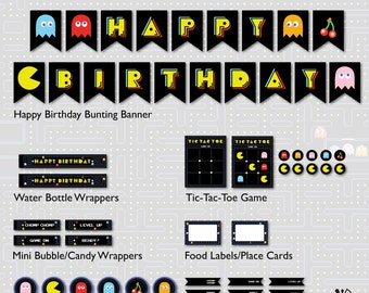 Pac-Man Birthday Party Printable INSTANT DOWNLOAD