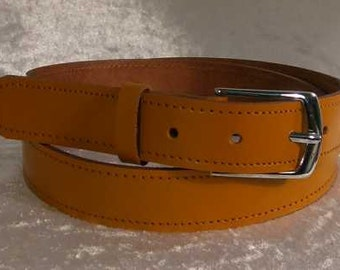 Tan leather belt with 30mm nickel buckle Made to Order