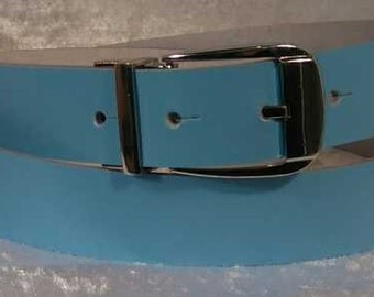 Sky Blue leather belt with 30mm buckle and belt loop Made to Order