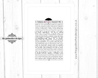 IF/THEN Broadway Musical Quotes Lyrics Typographic Print - **Digital File Only**