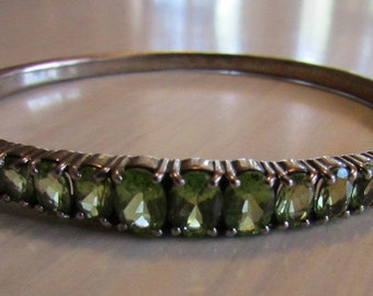 Faceted Peridot and Sterling Silver Hinged Bangle Bracelet