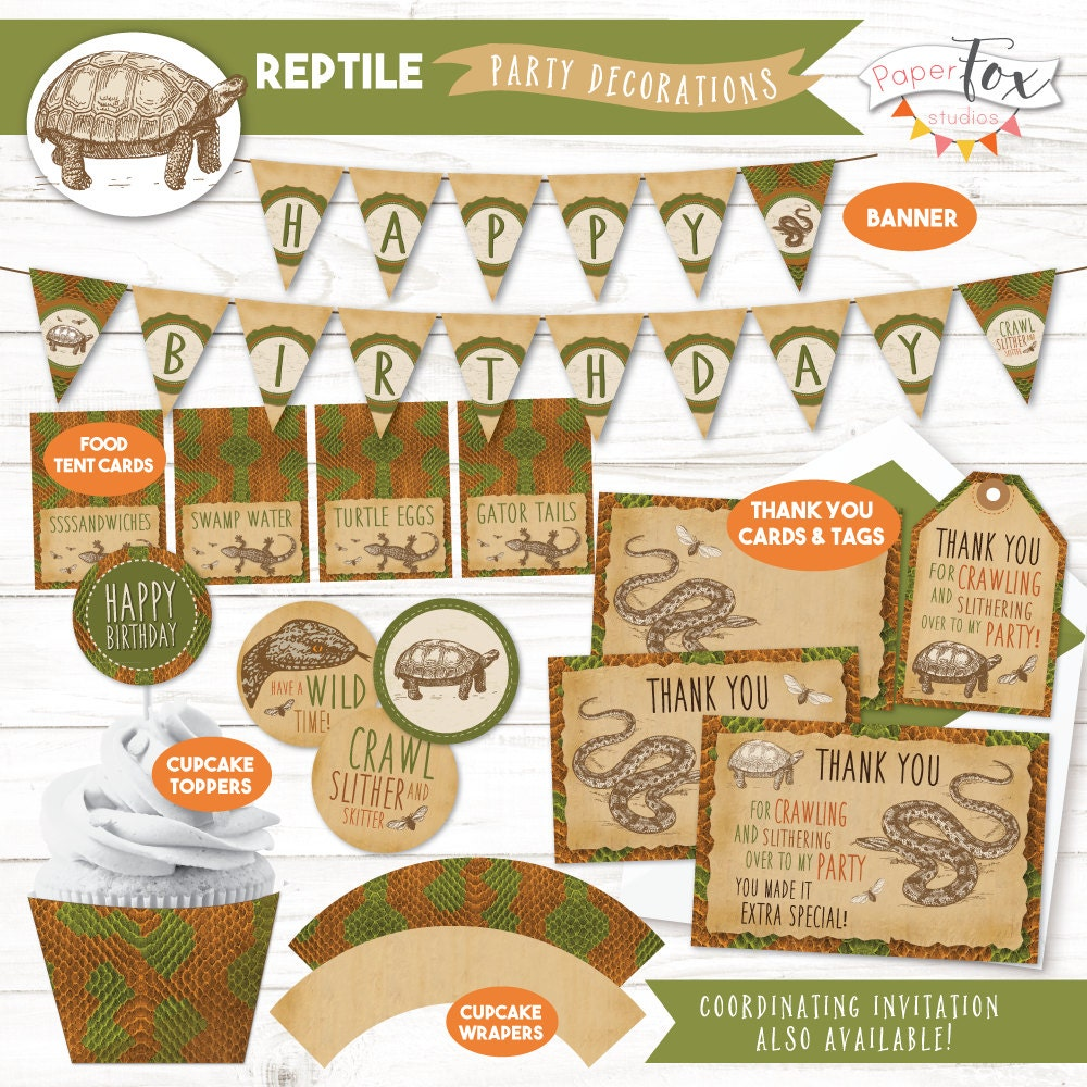 Reptile Birthday Party Reptile Party Cupcake Toppers