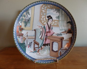 Imperial Jingdezhen Porcelain plate, Hsi-Chun, fourth plate in the Beauties of the Red Mansion collection by Master Artisan Zhao Huimin