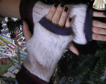 Cashmere Fingerless Gloves - Arm warmers - Typing Gloves - Repurposed Cashmere