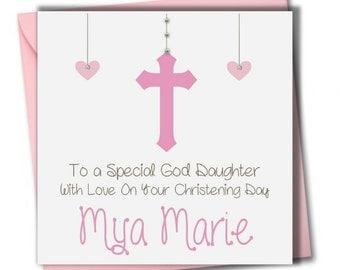 Personalised Girls Christening, Baptism Card, Daughter, Granddaughter, Niece, Sister, Goddaughter, Friend,  Religious Card.