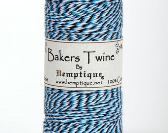 45 Meters Of Hemptique Bakers Twine In Light Blue, Dark Blue & White, Twine, Crafting Supplies Decorations Gift Wrapping