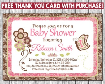 Cocalo Taffy Baby Shower Invitation with Free Thank You Card