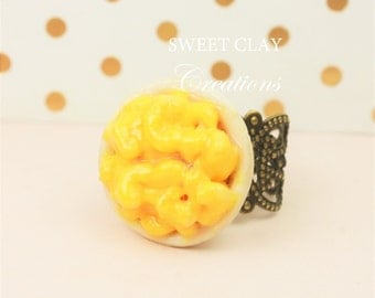 Macaroni and Cheese Ring Polymer Clay Ring Handmade Jewelry Miniature Food Jewelry Gift Girl
