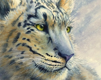 "Snow Leopard watercolor  print 11 X 12"""