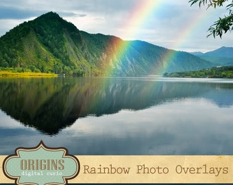 Rainbow Photography Overlays, rainbow PNG clipart photo overlays, realistic rainbow photo light effects, digital photoshop overlays