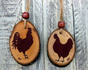 Rooster & Hen Ornament, Chicken Ornament, Christmas Ornaments, Farmhouse, Farm ornament, Gift